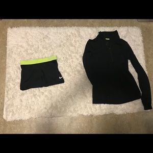 Nike dry fit athletic jacket and Nike pro shorts S